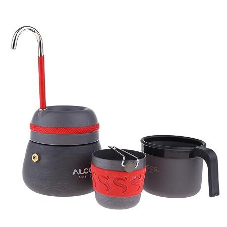 IPOTCH Tragbare Kaffeemaschine mit Kaffee Becher Set aus Aluminium für Reise