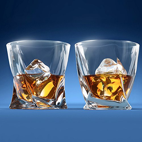 Premium Quality Twist Whiskey Glasses Set of 2 in Hand Crafted Wooden Box - Lead-Free Crystal Old Fashioned Tasting Tumblers For Scotch, Whisky, Liquor, Bourbon 10 oz. Luxury Gift Set For Men or Women by MILBURGA (Image #4)