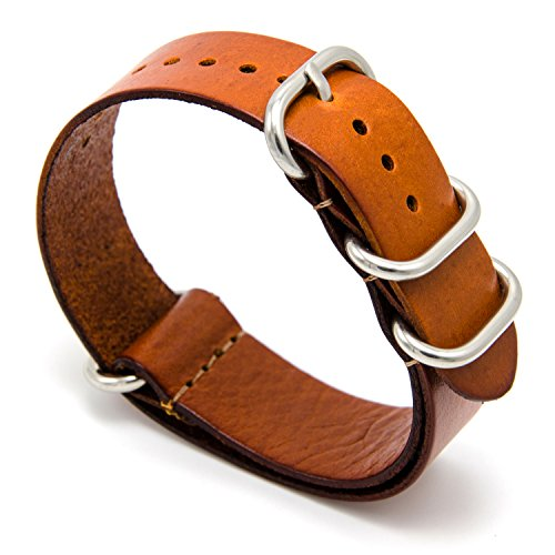 CIVO Genuine Grain Leather NATO Zulu Military Swiss G10 Watch Band Strap 18mm 20mm 22mm with Stainless Steel Buckle (Brown, 20mm)