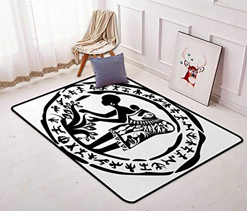 African Woman Large Area Rug Round Ring Shaped Frame with Tribal Woman Agriculture Prehistoric Art Printed Sofa Mats Chair Rug Floor Carpets 4'7'' x 5'4'' Black and White 4' Square Mud Ring