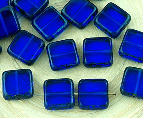 10pcs Picasso Brown Crystal Sapphire Blue Table Cut Square Flat Czech Glass Beads 10mm x 10mm