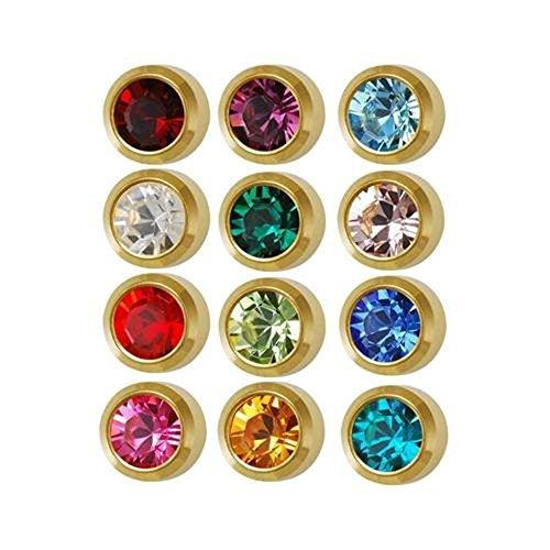 Earrings Birthstone Piercing - Caflon Surgical Steel Mini Gold 3mm Ear Piercing Earrings Studs 12 Pair Mixed Birth Stones, Yellow Metal