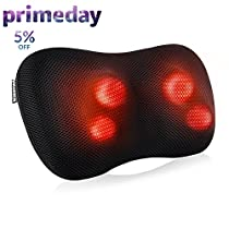 MARNUR Neck and Back Massager Shiatsu Massage Pillow with Deep Tissue Kneading Massage and Heat for Upper and Lower Back Shoulders Legs Pain Relief and Relaxation at Home in Car andOffice