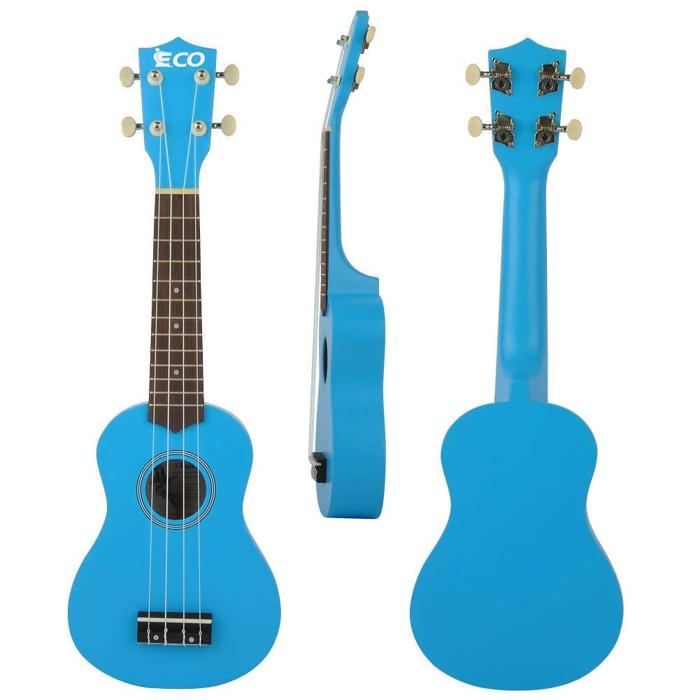 Rainbow Soprano Ukulele Starter Set-21 Inch w/Gig Bag Learn to Play Songbook Digital Tuner Strap All in One Kit iECO