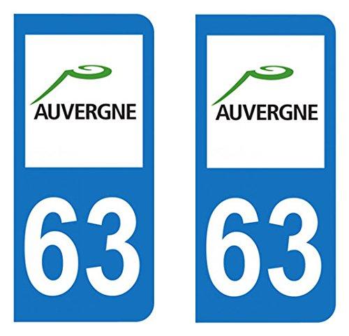 Paire Sticker immatriculation 63 - Puy de Dô me Autocollant-immatriculation