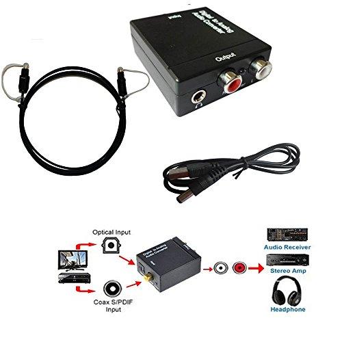EASYDAY SPDIF óptico coaxial Toslink digital a Analógico RCA Adaptador de Convertidor de Audio Con conector de audio de 3,5...