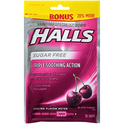 - Halls Sugar Free Black Cherry Cough Drops, 30 Ct, 3.28 Oz