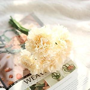 Auwer Premium Artificial Carnations Flower Simulation Real Touch Bouquet Spring Emulation Faux Floral Arrangements Bridal Home Decoration Garden Office Wedding Party Hydrangea Decor (F) 51