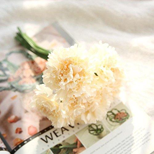 Auwer Premium Artificial Carnations Flower Simulation Real Touch Bouquet Spring Emulation Faux Floral Arrangements Bridal Home Decoration Garden Office Wedding Party Hydrangea Decor (F)