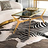 nuLOOM White Hand Made Striped Cowhide Shaped, 5' x 7'