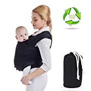 MORECOO Baby Slings Soft and Comfortable Baby Carrier Cotton Baby Wraps For Newborns and Infants Hands-Free Baby Holder Carrier with Nursing Cover 0-36 Months Boys or Girls Baby Shower Gift (Black)