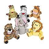 6 Large Premium Plush Animal Puppets -10 Inch Large Body Puppet Set