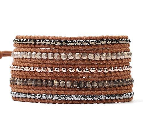 Chan Luu Multi Color Metallic Mix Beige Leather Wrap Bracelet 32