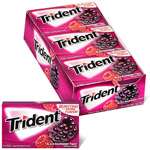 Trident Black Raspberry Twist Sugar Free Gum, Made with Xylitol, 12 Packs of 14 Pieces (168 Total Pieces)