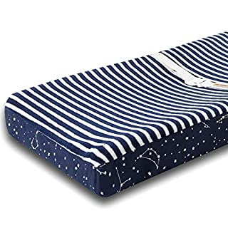 "Changing Table Pad Cover Navy - Contoured Changing Pad Cover for Boys & Girls - Ultra Soft & Stretchy Washable Plush Fleece - 16x32"" Size Universal Fit - Navy Constellation"