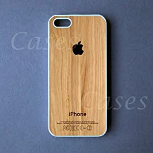 Iphone 5c Case - Black Apple Logo on Wood Iphone 5c Cover