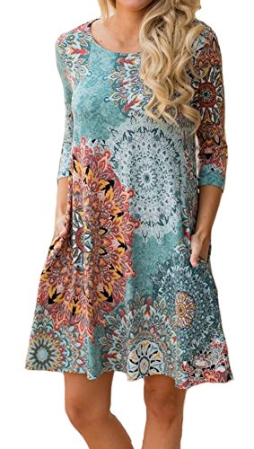 ETCYY Women's Long Sleeve Floral Printed Casual Swing T-shirt Dress With Pockets,Flower,X-Large
