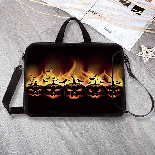 Vintage Halloween Stylish Neoprene Laptop Bag,Happy Halloween with Jack o Lanterns on Fire with Bats Holiday Decorative Laptop Bag for Business Casual or School,17.3