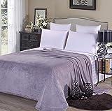 Vivid Color Flannel Bed Blanket Sheet Extra Soft Warm Plush Easy Care Lightweight Fluffy Bedding Blankets for Kid Children Teen Boy Girl Sleeping