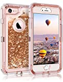 Coolden iPhone 6S Case, iPhone 6 Case, Heavy Duty Dual Layer iPhone 6S Protective Case Floating Bling Glitter Sparkle Shiny Quicksand Liquid Clear Shockproof Case Cover for iPhone 6/6S (Rose Gold)