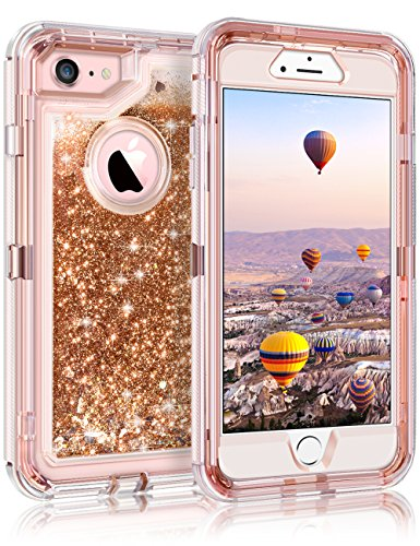 "Coolden 3D Glitter Case for iPhone 8/7(NOT Plus), Floating Quicksand Liquid Shell Clear Cover Dual Layer Shockproof Bumper Impact Resistant Anti-Drop Skin for 4.7"" Apple iPhone 7/8, Light Coffee"