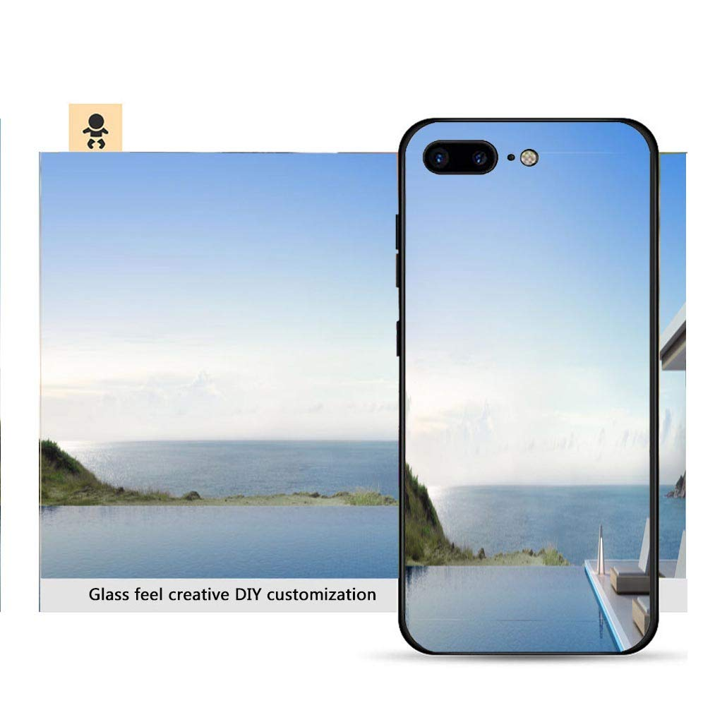 Iphone 7p 8p ultra thin phone case luxury beach house with sea view swimming pool and terrace in modern design lounge chairs on resistance to falling