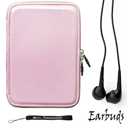 Pink Smooth Carbon Fiber Durable Slim Protective Eva Storage Cover Cube Carrying Case with Mesh Pocket For Amazon Kindle Fire Full Color 7'' Multi-touch Display, Wi-Fi (Newest Tablet) + Includes a Crystal Clear HD Noise Filter Ear buds Earphones Headphones by Kindle Fire Accessories