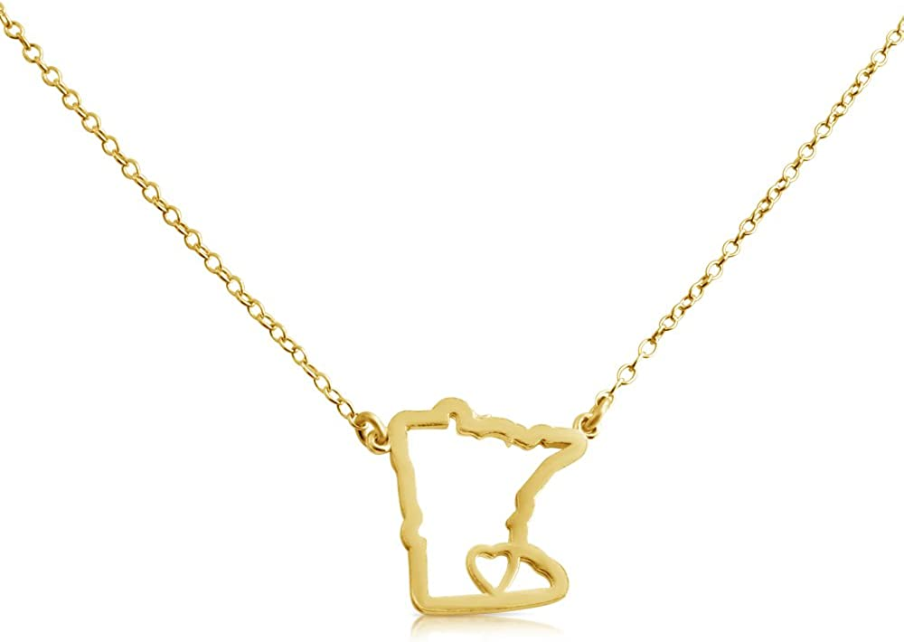 Belcho USA 14k Gold Plated Over 925 Sterling Silver Small Minnesota -Home is Where The Heart is- Home State Necklace