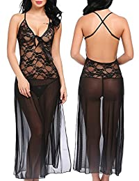 Avidlove Women's Sexy Lace Chemise Lingerie Set Sheer Deep V Babydoll Nightgown