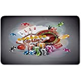 Memory Foam Bath Mat,Poker Tournament Decorations,Welcome to Casino Colorful Chips Cards Dice Roulette Jackpot DecorativePlush Wanderlust Bathroom Decor Mat Rug Carpet with Anti-Slip Backing,Multicol