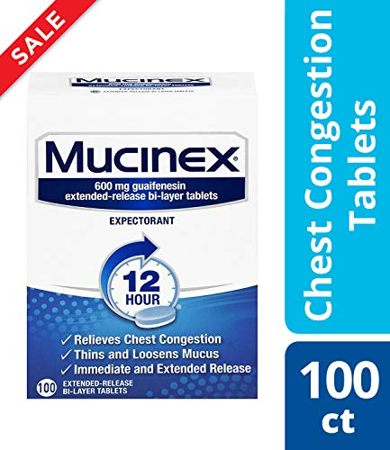 (Chest Congestion, Mucinex 12 Hour Extended Release Tablets, 100ct, 600 mg Guaifenesin with extended relief of  chest congestion caused by excess mucus, thins and loosens mucus)