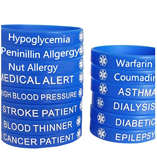 Blue Silicone Rubber Medical Awareness Alert Bracelet (Asthma) (Asthma Medical Alert Bracelet)