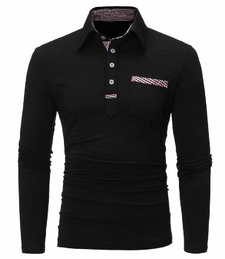 Honey GD Mens Solid Color Long Sleeve Henley Contemporary Polo Shirt
