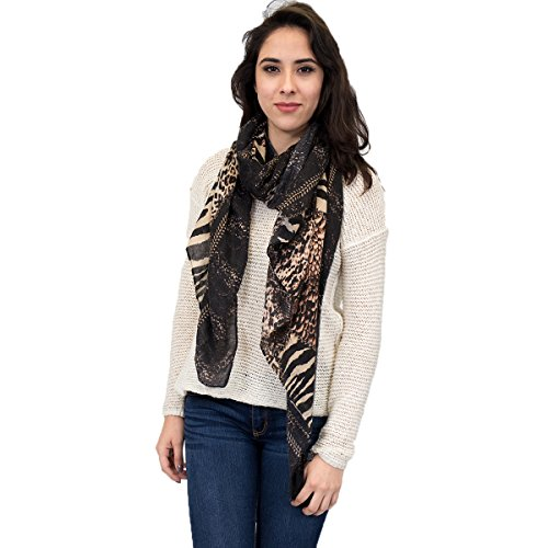 (Animal Print Zebra and Leopard Spotted Scarf (Brown))
