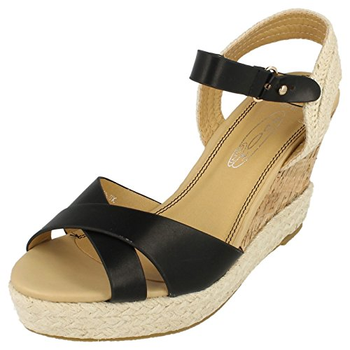 Damen Wedge Sandale Spot On Schwarz