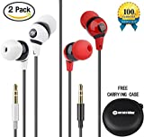 Farstrider 2Packs Stereo Earphones Headphones Earbuds with Hard Carrying Case Bag - High Definition - Heavy Deep Bass - Noise Isolating - Tangle Free - Ergonomic Comfort-Fit for Iphone Samsung Ipad PC etc