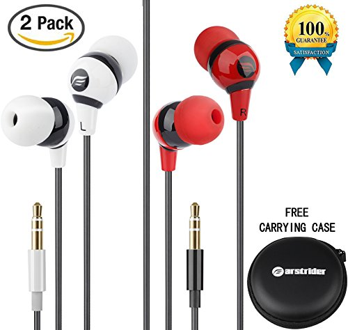 Farstrider 2Packs Stereo Earphones/Headphones/Earbuds with Hard Carrying Case Bag, High Definition, Heavy Deep Bass, Noise Isolating, Tangle Free, Ergonomic Comfort-Fit for iPhone Samsung Ipad PC etc