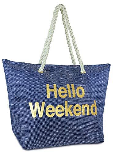 BG-717-HW31 Beach Bag - HELLO WEEKEND (Navy) (Floral Beach Bag)