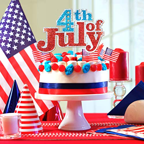 Fourth of July Red Cake Topper - Food / Appetizer Picks Celebrate American Party Decor - 2019 Independence Day 4th of July Theme Party Photo Supplies Decorations (Best Pillow Topper 2019)