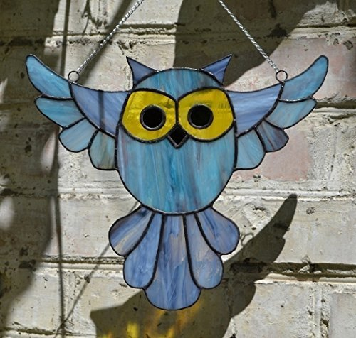 Stained Glass Owl Window Decoration, Bird Sun Catcher or Wall Art Decor
