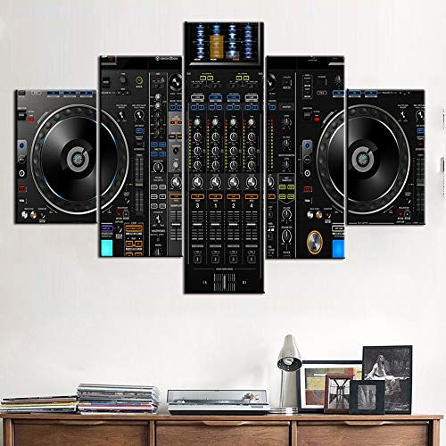 (Music Decorations for Home DJ Pictures for Wall DJ Spinning Paintings for Living Room 5 Pcs/Multi Panel Canvas Art,Modern Artwork Frame Gallery-wrapped Ready to Hang Posters and Prints(60''Wx40''H))
