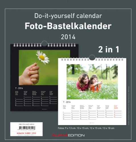 Foto-Bastelkalender 2 in 1 schwarz/weiss datiert 21 x 22 cm, Bastelkalender 2014