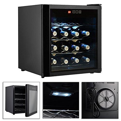 Wine Cooler Fridge Cellar Storage Black 16 Bottles - 220 Volt Wine Cooler