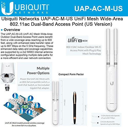 UniFi AC Mesh UAP-AC-M-US 802.11AC Indoor/Outdoor Dual-Band Access Point (US) by Ubiqui Network