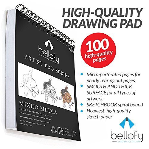 100-Sheet Sketchpad Artist Pro, Watercolor, and Acrylic Art Pad for Sketching, Ink Sketch Book, Coloring Notebook - 98 Ib / 160 g/m2 - 9 x 12 in Multi-Media Spiral Notebook, Drawing Paper, Drawing Pad