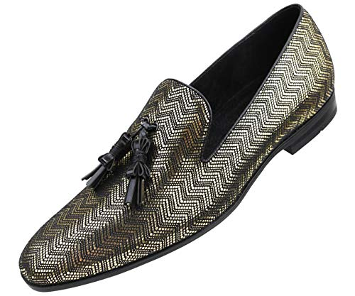 (Amali Men's Metallic Zig Zag Smoking Slipper with Black Contrast Piping and Tassel Dress Shoe, Style Empire, Runs Large Narrow Feet Order 1/2 Size Down)
