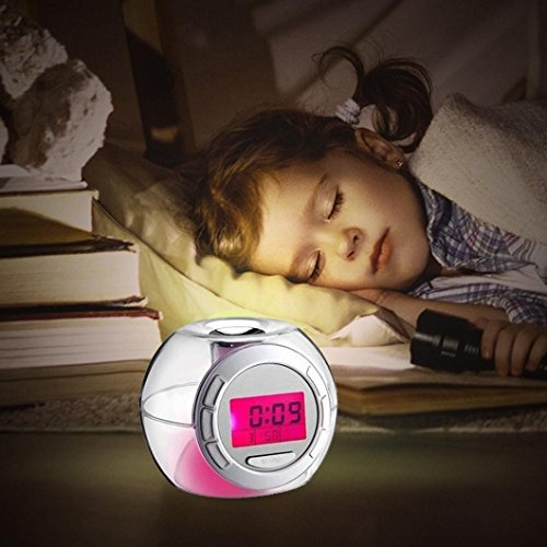 Creative Alarm Clocks, Elevin(TM) Thoughtful Music Led Temperature Display & Nature Sound - 7 Colors Changing Digital Alarm Clock (Clear)