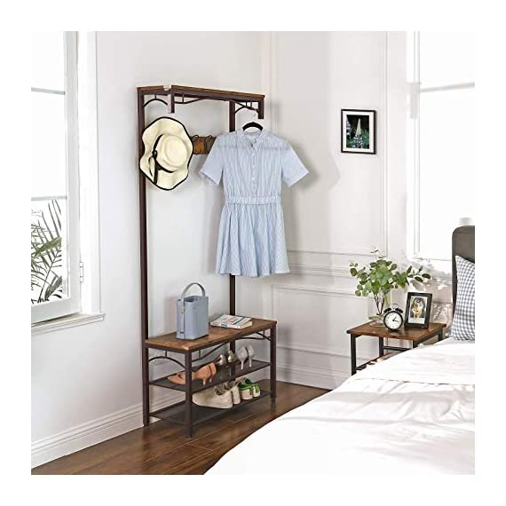 VASAGLE Industrial Coat Rack, 3-in-1 Hall Tree, Entryway Shoe Bench Accent Furniture Metal Frame Large Size UHSR45AX, Rustic Brown (Renewed) - WELCOMES YOU HOME: Eliminate the mess in your hallway with this smart coat shoe rack; perfect balance of clean lines, modern elegance and effortlessly rustic appeal EVERYTHING YOU NEED: After coming back home at the end of the day, just hang your coat, hat and scarves on the top 5 dual hooks, sit on the bench to remove your shoes and put them on the 2 metal mesh storage shelves STABLE AND SAFE: With 4 adjustable feet, the coat rack can stand perfectly stable on carpets or uneven floors; 2 anti-toppling straps are included to ensure safe use - hall-trees, entryway-furniture-decor, entryway-laundry-room - 51D2fG5QxDL. SS570  -