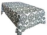 "60""x102"" Black White Damask Flocked Tablecloth"