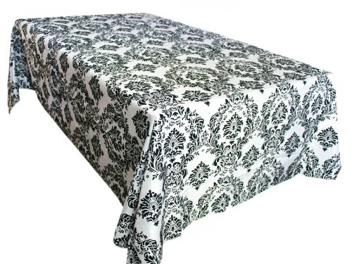 BalsaCircle 90-Inch x 156-Inch Black and White Rectangular Damask Flocked Taffeta Tablecloth Table Linens Wedding Party Decorations